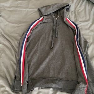 red white and blue stripped hoodie